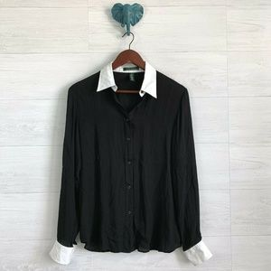 LRL Medium Silk Button Down Blouse